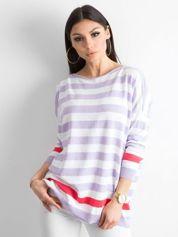 Fioletowy sweter w paski