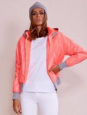 Fluo różowa kurtka przejściowa z suwakami na rękawach