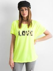Fluo żółty luźny t-shirt Lovers