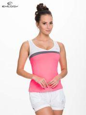 For Fitness Fluoróżowy modelujący top sportowy z szarym paskiem