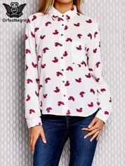 Fuksjowa koszula we wzór origami z wycięciem z tyłu