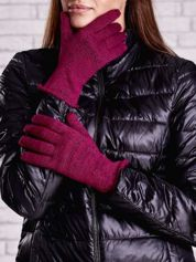 Fuksjowe rękawiczki z metalizowaną nicią z wywijanym mankietem