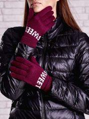 Fuksjowe rękawiczki z napisem SWEET i z wywijanym ściągaczem