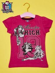 Fuksjowy t-shirt dla dziewczynki MONSTER HIGH z brokatowym nadrukiem