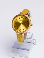 GENEVA Modny zegarek damski z dużą tarczą na wąskim pasku