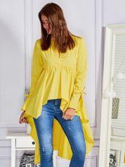 Gładka tunika z dłuższym tyłem żółta