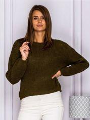 Gładki sweter z szerokim splotem khaki