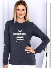 Grafitowa bluza damska z koroną i napisem KSIĘŻNICZKI