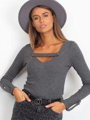 Grafitowa dopasowana bluzka V-neck