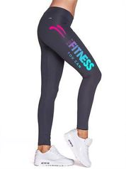 Grafitowe długie legginsy fitness ze sportowym nadrukiem