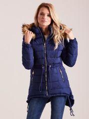 Granatowa asymetryczna kurtka na zimę