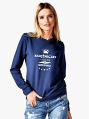 Granatowa bluza damska z koroną i napisem KSIĘŻNICZKI