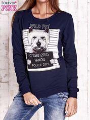 Granatowa bluza z nadrukiem psa