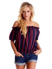 Granatowa bluzka hiszpanka w paski