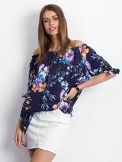 Granatowa bluzka z hiszpańskim dekoltem w malowane kwiaty
