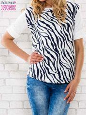 Granatowa bluzka z nadrukiem zebry
