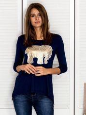Granatowa bluzka ze złotym słonikiem