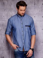 Granatowa denimowa koszula męska z zamszowymi wstawkami PLUS SIZE