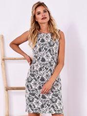 Granatowa koronkowa dopasowana sukienka