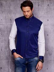 Granatowa koszula męska z kontrastowymi rękawami PLUS SIZE