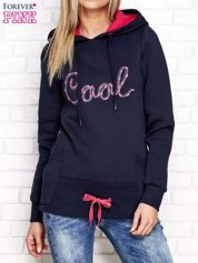 Granatowa ocieplana bluza z kapturem z napisem COOL