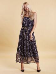 Granatowa panterkowa sukienka maxi na złotych ramiączkach
