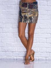 Granatowa patchworkowa spódnica mini z zamkiem