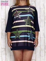 Granatowa sukienka dresowa z nadrukiem gwiazd PLUS SIZE