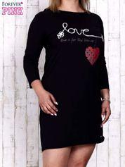 Granatowa sukienka dresowa z napisem LOVE PLUS SIZE