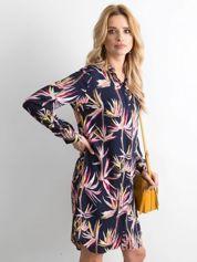 Granatowa sukienka szmizjerka z nadrukiem