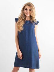 Granatowa sukienka z falbankami na ramionach