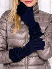 Granatowe rękawiczki z marszczonym mankietem