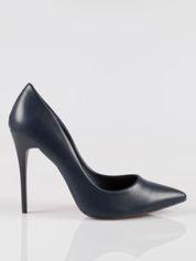 Rue Paris Granatowe szpilki high heels z noskiem w szpic