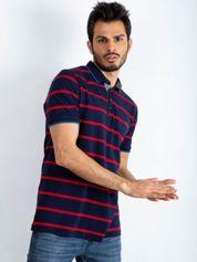 Granatowo-czerwona męska koszulka polo Throwback