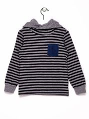 Granatowo-szara bluza chłopięca w paski z kapturem