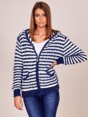 Granatowy rozpinany sweter w paski z kapturem