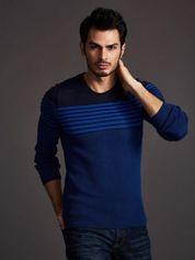 Granatowy sweter męski w poziome paski