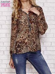 Jasnobrązowa panterkowa koszula z suwakiem