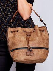 Jasnobrązowa torba z suwakami