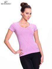 Jasnofioletowy modelujący damski t-shirt sportowy