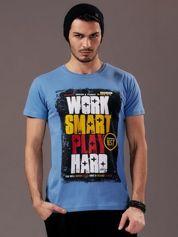 Jasnoniebieski t-shirt męski Work Smart
