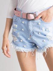 Jasnoniebieskie jeansowe szorty z perełkami