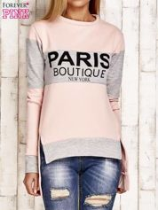 Jasnoróżowa asymetryczna bluza z napisem PARIS