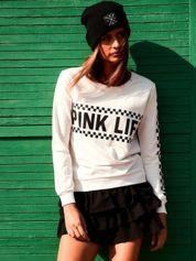Jasnoróżowa bluza bawełniana z nadrukiem PINK LIFE