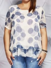Jasnoróżowa bluzka mgiełka w kolorowe wzory PLUS SIZE