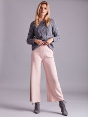 Jasnoróżowe szerokie spodnie z dzianiny