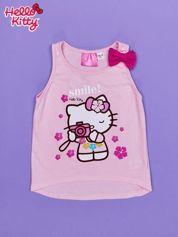 Jasnoróżowy t-shirt dla dziewczynki bez rękawów HELLO KITTY