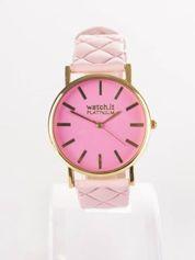 Jasnoróżowy zegarek damski z pikowanym paskiem