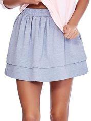 Jasnoszara dresowa spódnica z kieszeniami