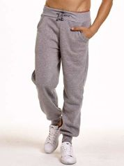 Jasnoszare dresowe spodnie męskie z trokami w pasie i kieszeniami